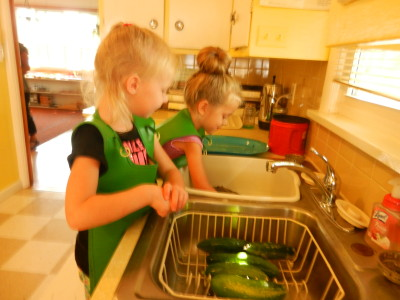 We are washing our cucumbers from the garden.