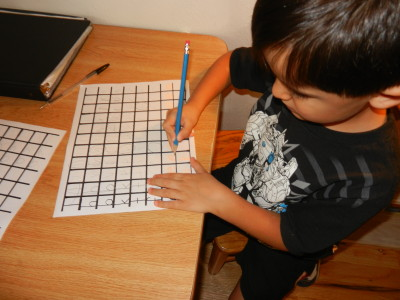 Writing of letters by similar stroke sequence is practiced.