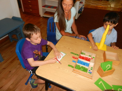 Addition with concrete materials like the stamp game, allow a child to add large numbers.