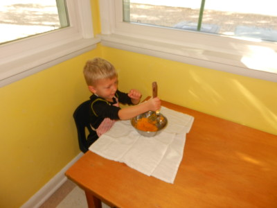 We cook and mash some of our pumpkins to make muffins.