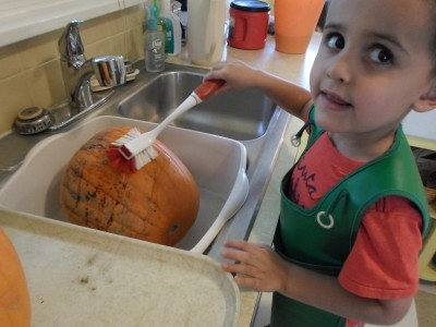 We clean our big pumpkins at the kitchen sink.